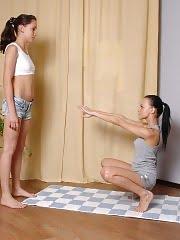 Flirty trainee and her lesbian gymnastics coach