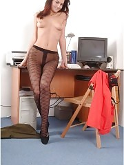 Sexy secretary takes off all except for her pantyhose