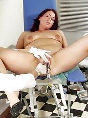 Gynecological lesbian rubbing a chubby clitty