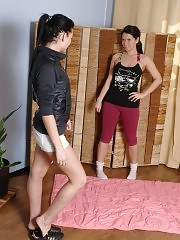 Blushing undressed bitch of a lesbian yoga trainer