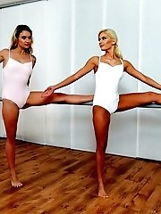 Ballerinas Candee Licious And Angel Piaff Are In The Middle Of Making Out When Their Instructor Make